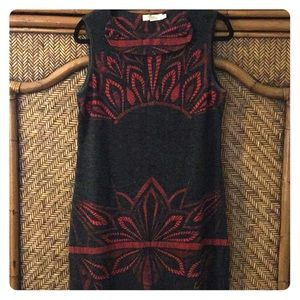 Sleeveless red and grey sweater dress frm boutique
